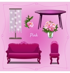 Luxury furniture and floral decorations vector