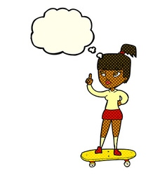 Cartoon skater girl with thought bubble vector