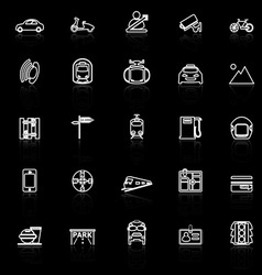 Land transport related line icons with reflect on vector