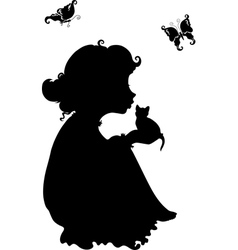 Silhouette of a girl with a kitten vector
