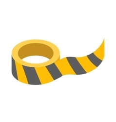 Roll of yellow barrier tape icon vector