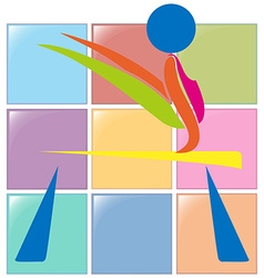 Sport icon design for gymnastics on beam vector
