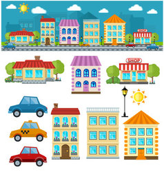 Flat set of city vector
