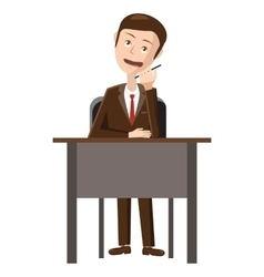Businessman talking on phone icon cartoon style vector