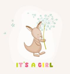 baby girl kangaroo holding flower baby shower card vector image vector image