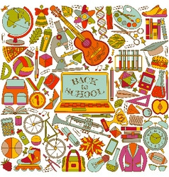 Back to school background made of line icons vector image