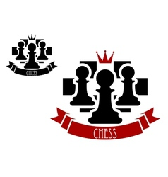 Chess emblem with pawns on chessboard background vector