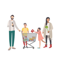 concept for supermarket or shop happy family vector image vector image