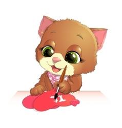 Cute kitten draws vector
