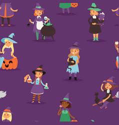 cute witch halloween little girl harridan vector image