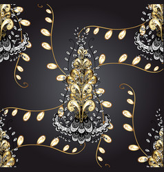 decorative symmetry arabesque gold on gray black vector image