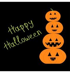 Four funny pumpkins halloween card flat design vector