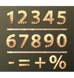 golden number with bulb lamps vector image