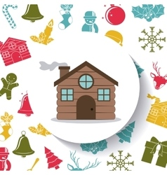 House of Merry Christmas design vector image