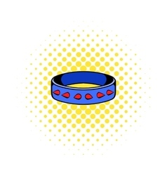 Leather fetish collar icon comics style vector