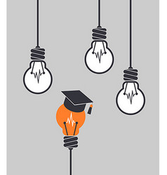 Light bulb with graduation cap different among the vector image vector image