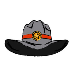 Old western sheriff hat with insignia star vector