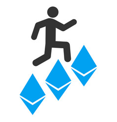 person climb ethereum flat icon vector image