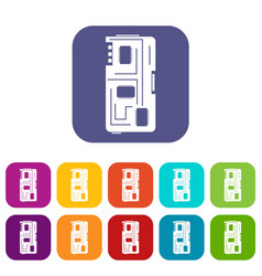 Phone chip icons set flat vector