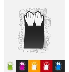 Prayer paper sticker with hand drawn elements vector