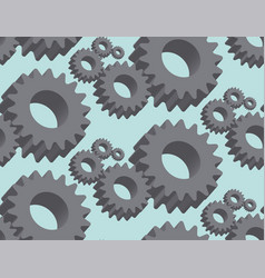 seamless pattern cogwheel in 3d vector image vector image