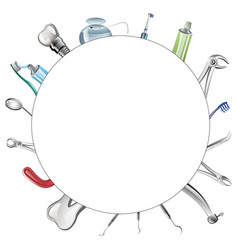 set of realistic dental tools vector image vector image