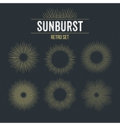 Set of retro sun burst shapes vector