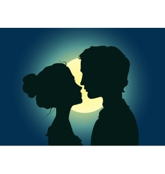 Silhouettes of kissing couple vector image vector image