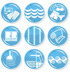 Spa swimming pool icons vector image vector image