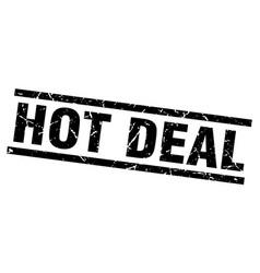 Square grunge black hot deal stamp vector