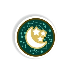 Stylish icon in paper sticker style moon and stars vector