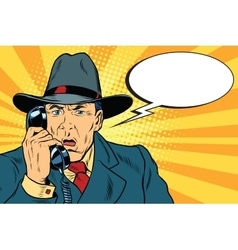 Surprised retro businessman talking on the phone vector