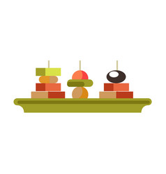 Tasty canape sandwishes on green plate isolated vector