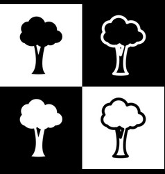 Tree sign black and white vector