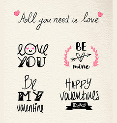 Valentines day hand drawn love quote set vector