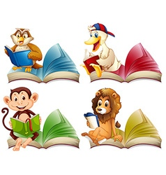 Wild animals reading books vector