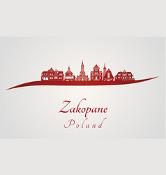 Zakopane skyline in red vector
