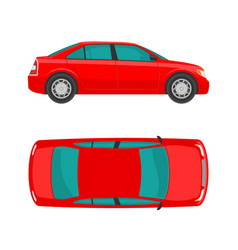 Car view top and side flat styled vector
