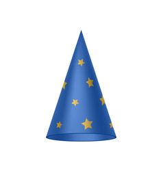 blue sorcerer hat with golden stars vector image