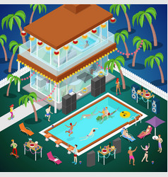 Outdoor swimming pool party isometric vector