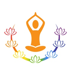 Emblem yoga pose with chakra lotuses isolated on vector