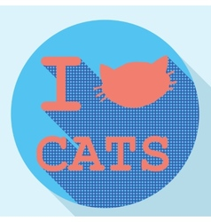 I love cats flat retro vintage icon vector