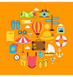 Flat summer travel icon circle shaped set vector