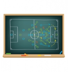 soccer strategy on the blackboard vector image
