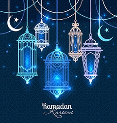 Ramadan kareem islamic background lantern for vector