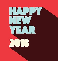 2016 happy new year flat design retro on red vector