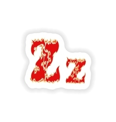 Sticker fiery font red letter z on white vector