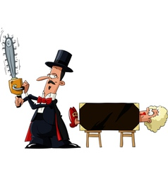 magician with a saw vector image