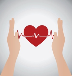 Hands holding heart of heartbeat vector
