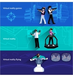 Virtual augmented reality flat banners set vector